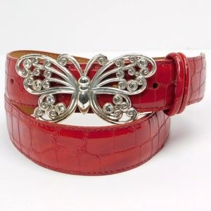 Brighton Leather Embossed Butterfly Belt